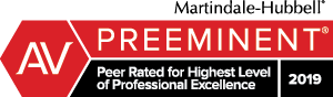 AV Rated Preeminent - Martindale-Hubbell Peer Rated for Highest Level of Professional Excellence 2019